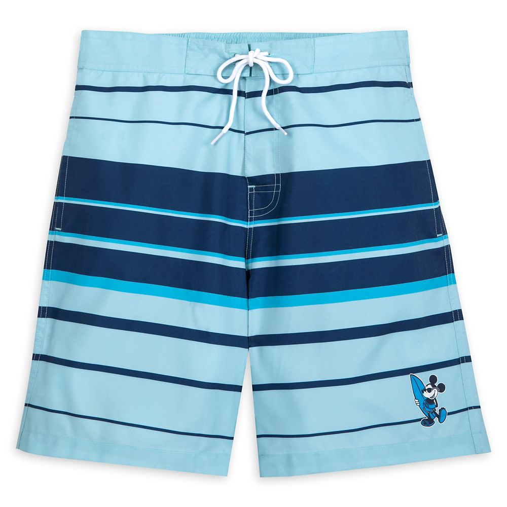 Mickey Mouse Striped Swim Trunks for Men