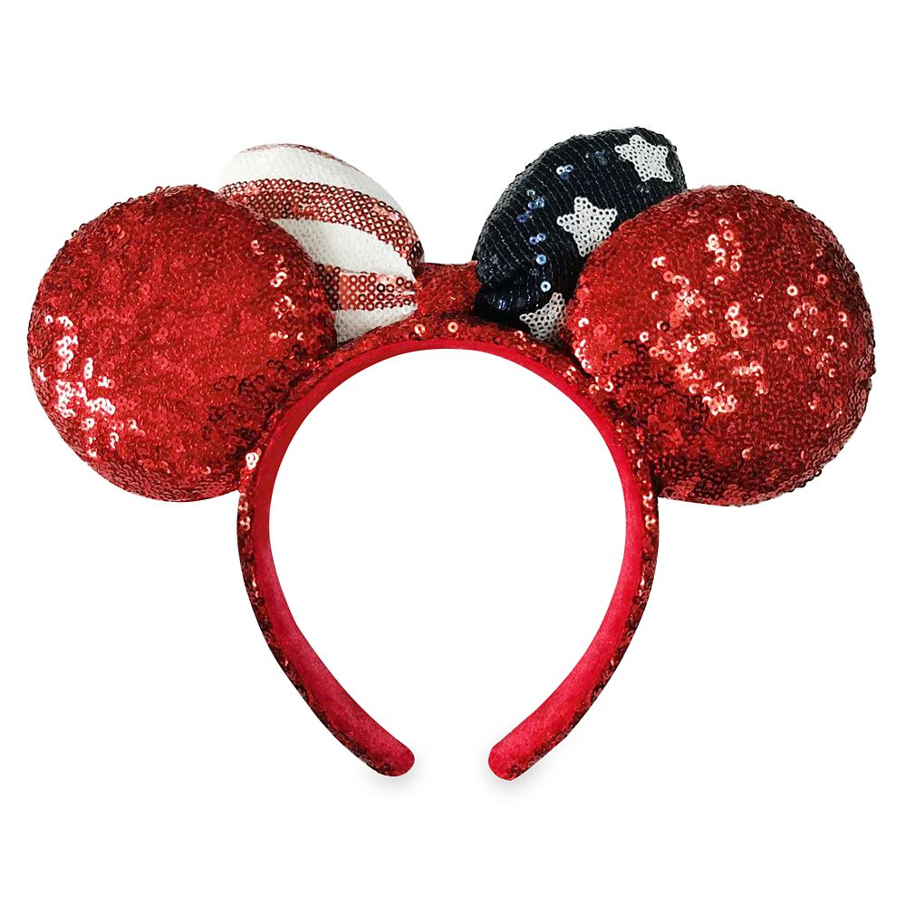 Minnie Mouse Americana Sequined Ear Headband with Bow