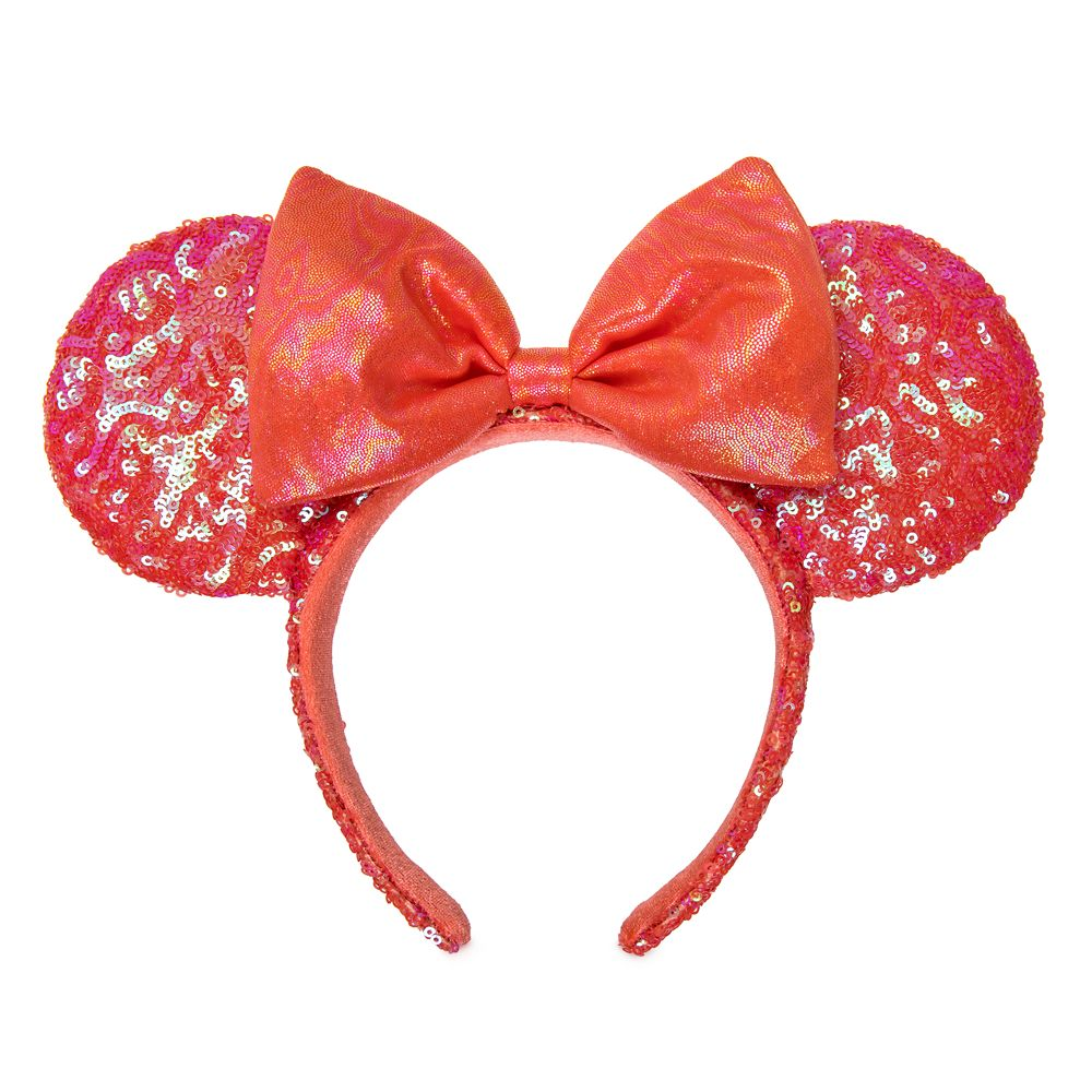 Minnie Mouse Sequined Ear Headband for Adults – Coral