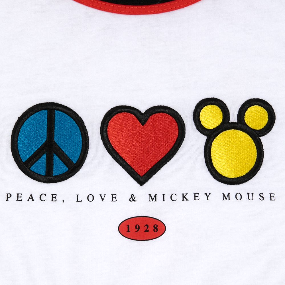 Mickey Mouse Peace & Love Ringer T-Shirt for Adults