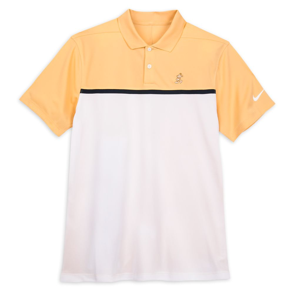 Mickey Mouse Performance Polo Shirt for Men by Nike – Peach and White Color Block