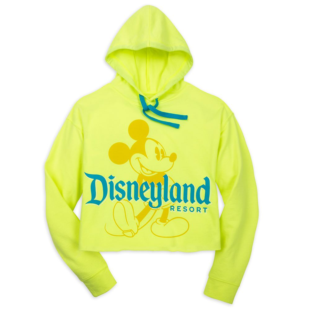 Mickey Mouse Pullover Hoodie for Women – Disneyland – Neon Yellow