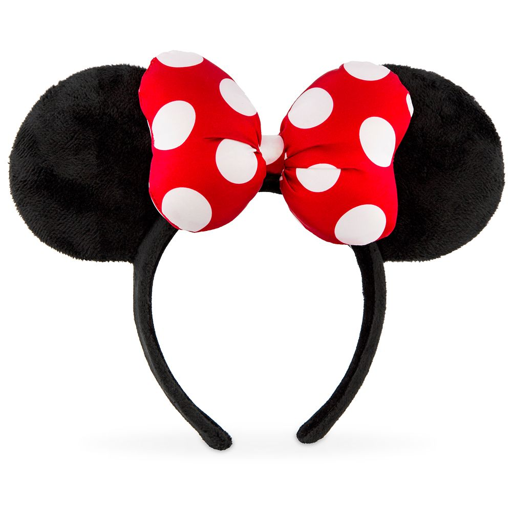 Minnie Mouse Satin Polka Dot Bow Ear Headband – Red