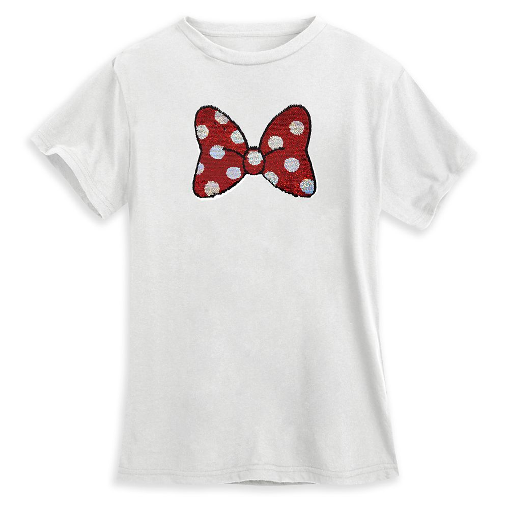 Minnie Mouse Bow Reversible Sequin T-Shirt for Women