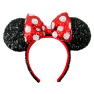 Minnie Mouse Sequined Ear Headband – Red & White Polka Dot