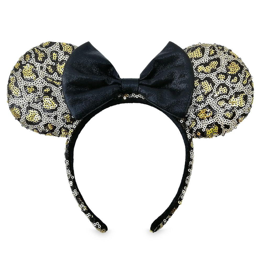 Minnie Mouse Sequined Leopard Print Ear Headband with Bow