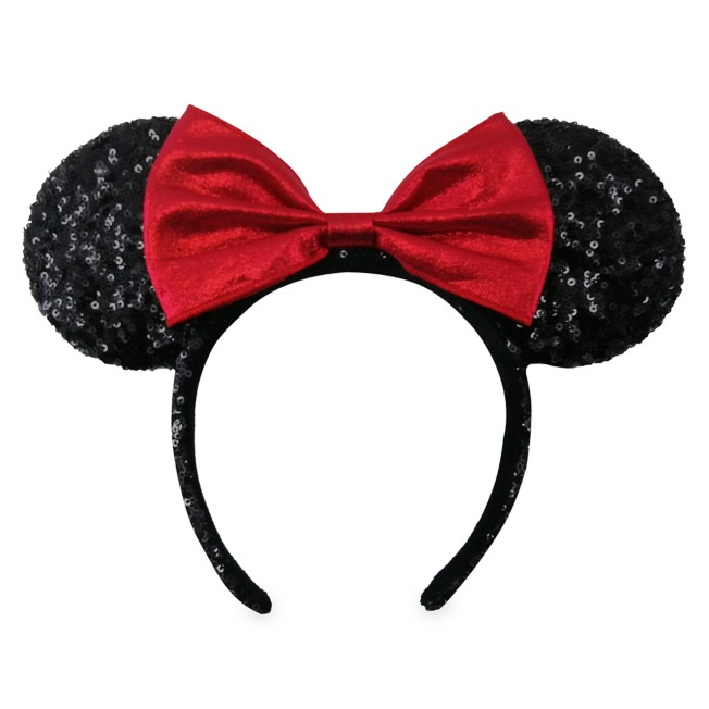 Minnie Mouse Sequined Ear Headband with Velvet Bow – Black and Red