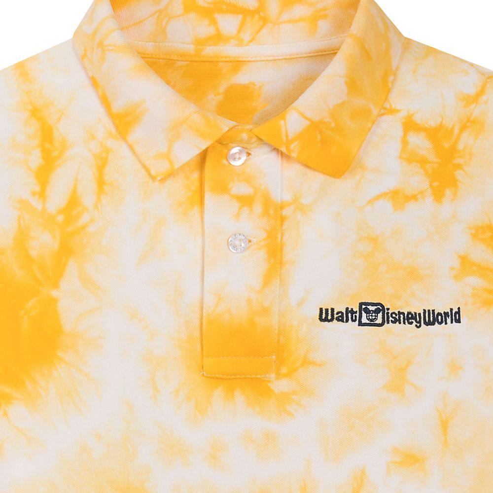 Walt Disney World Tie-Dye Polo Shirt for Men – Slim Fit – Yellow