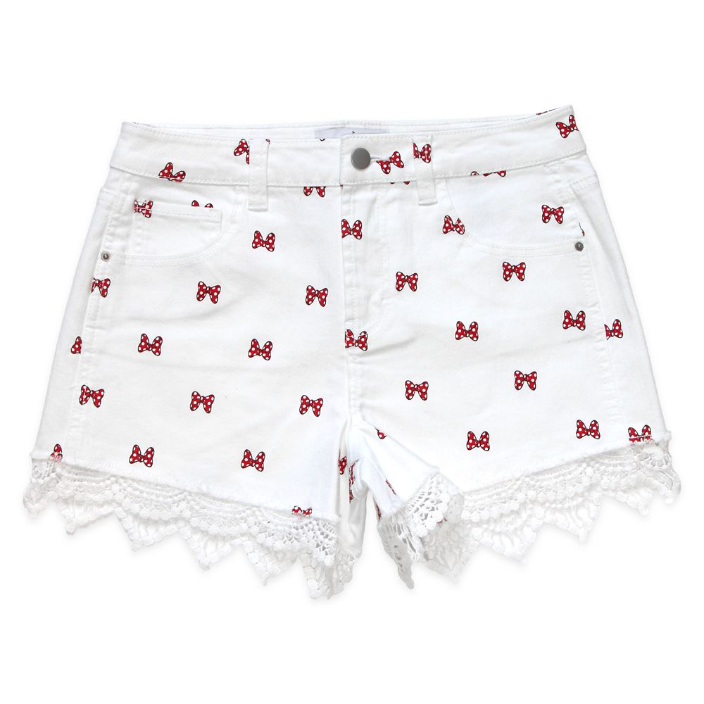 Minnie Mouse White Denim Shorts for Juniors