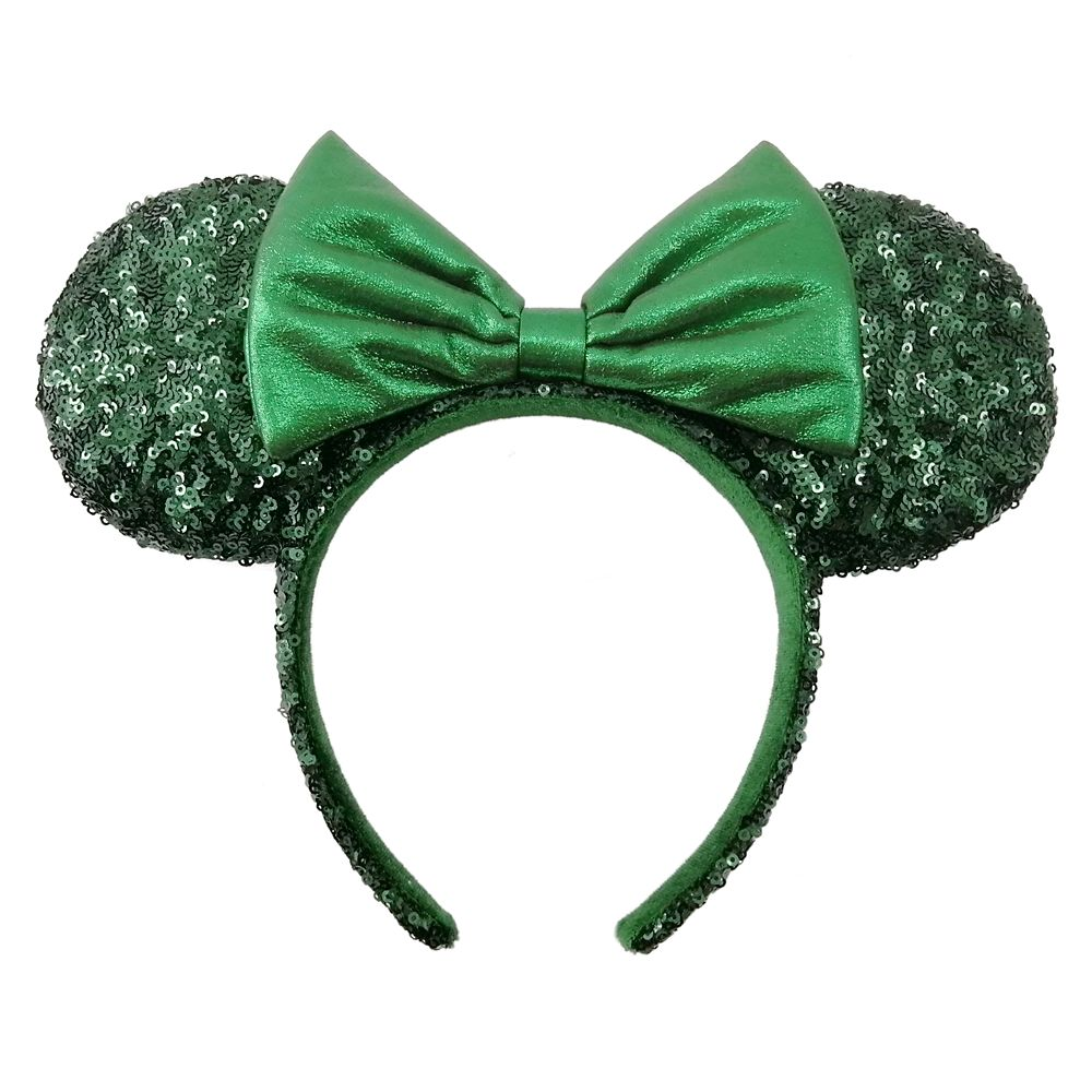 Minnie Mouse Sequined Ear Headband with Bow – Emerald