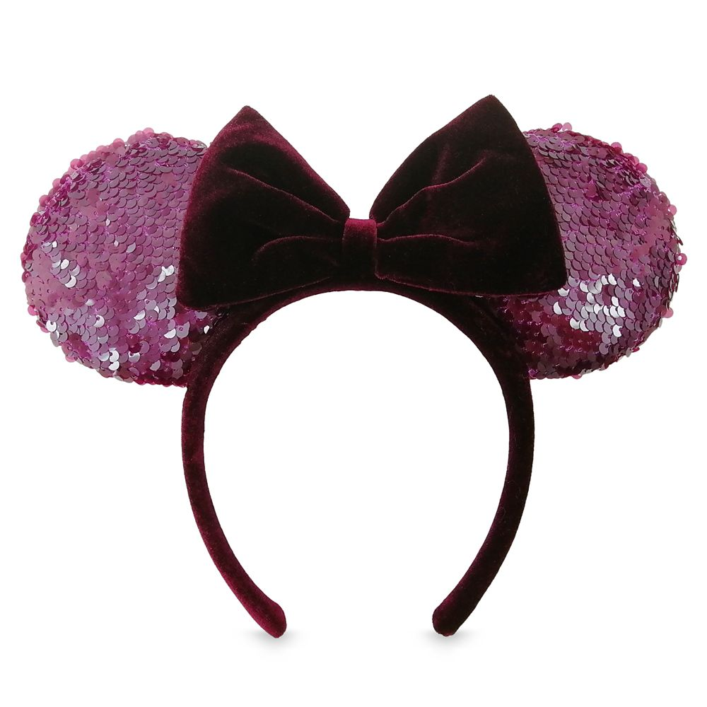 Minnie Mouse Sequined Ear Headband with Velvet Bow – Bordeaux