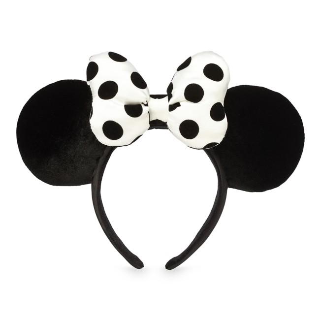 Minnie Mouse Ear Headband with Bow – Black & White Polka Dot