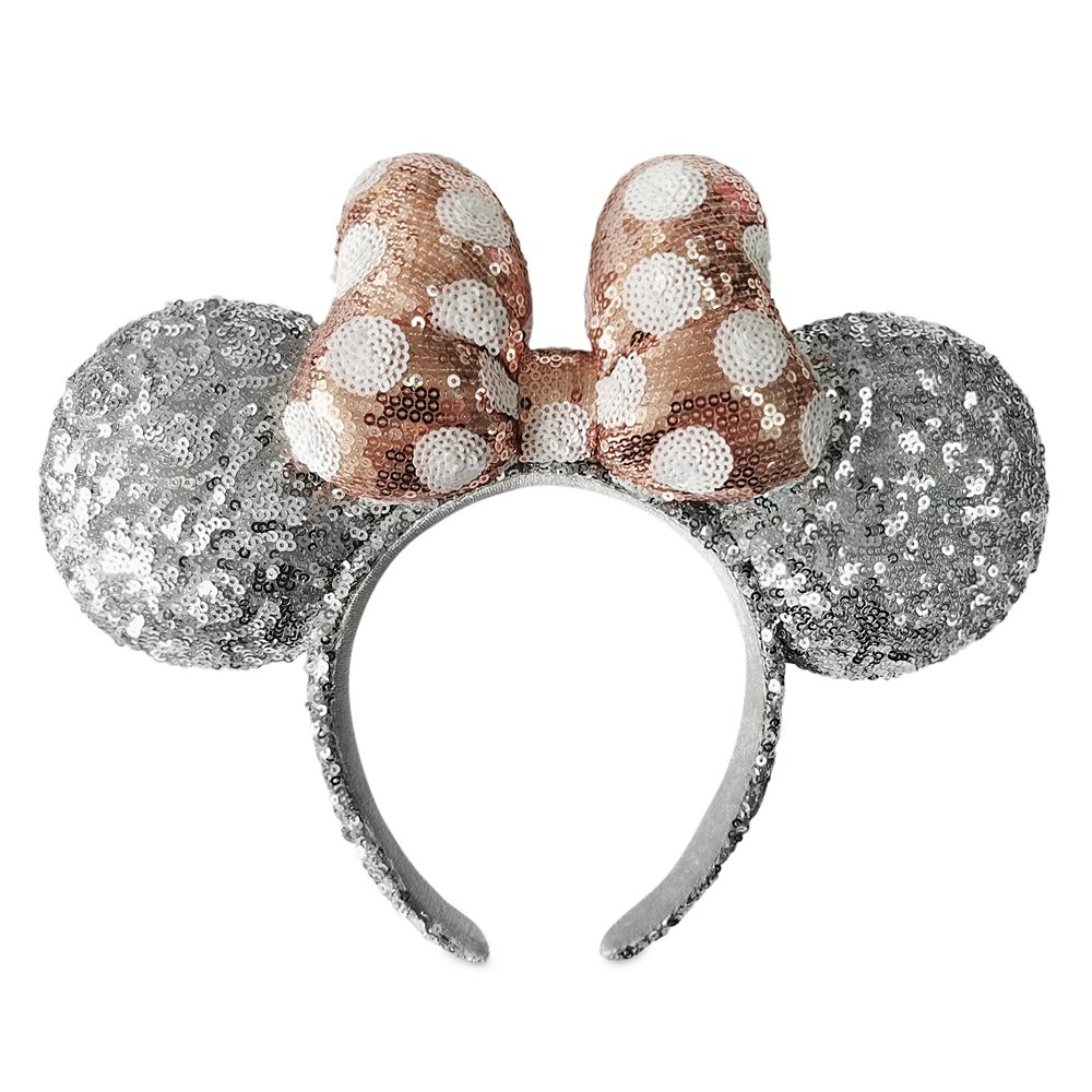 Minnie Mouse Silver Sequined Ear Headband with Rose Gold Bow