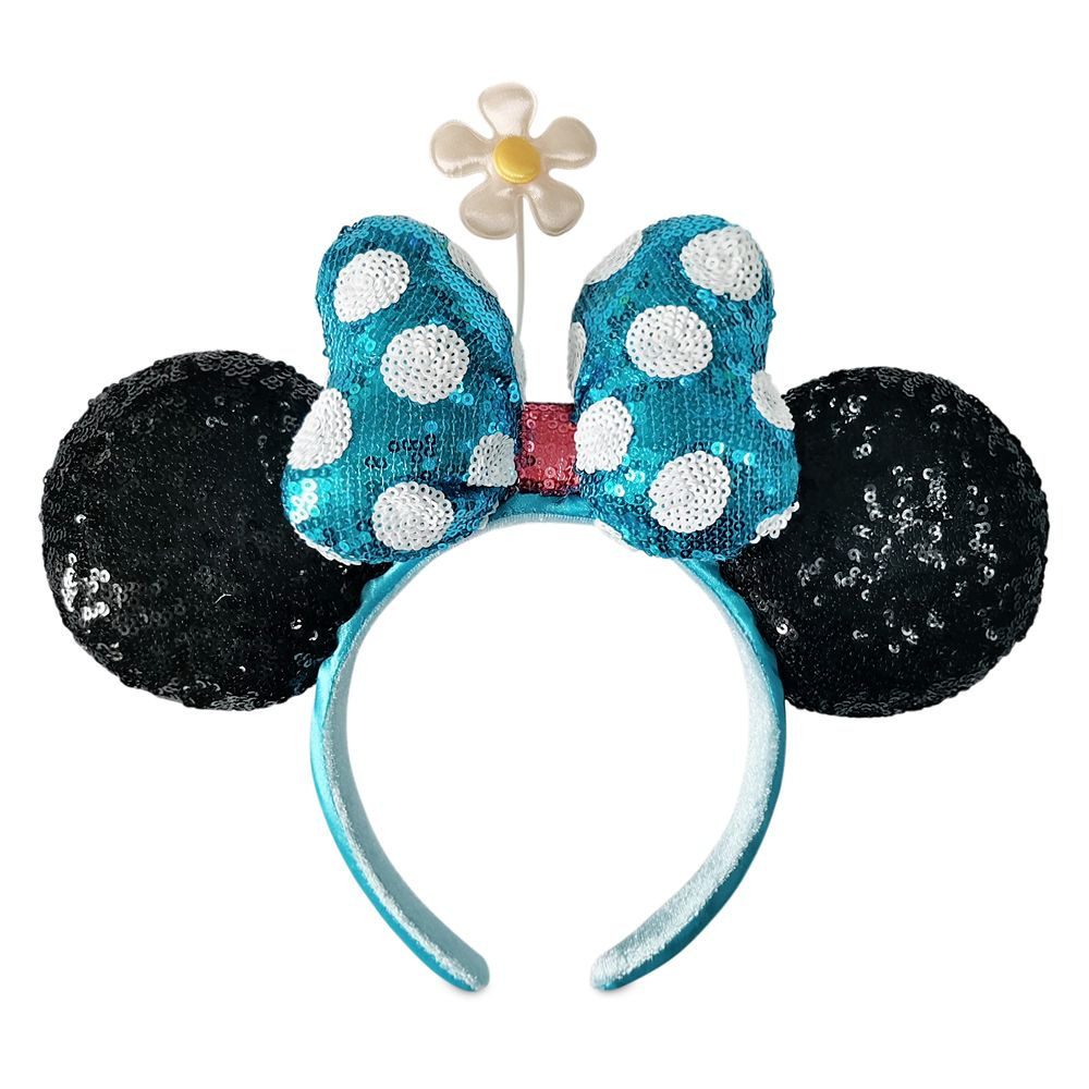Minnie Mouse Sequined Ear Headband with Flower