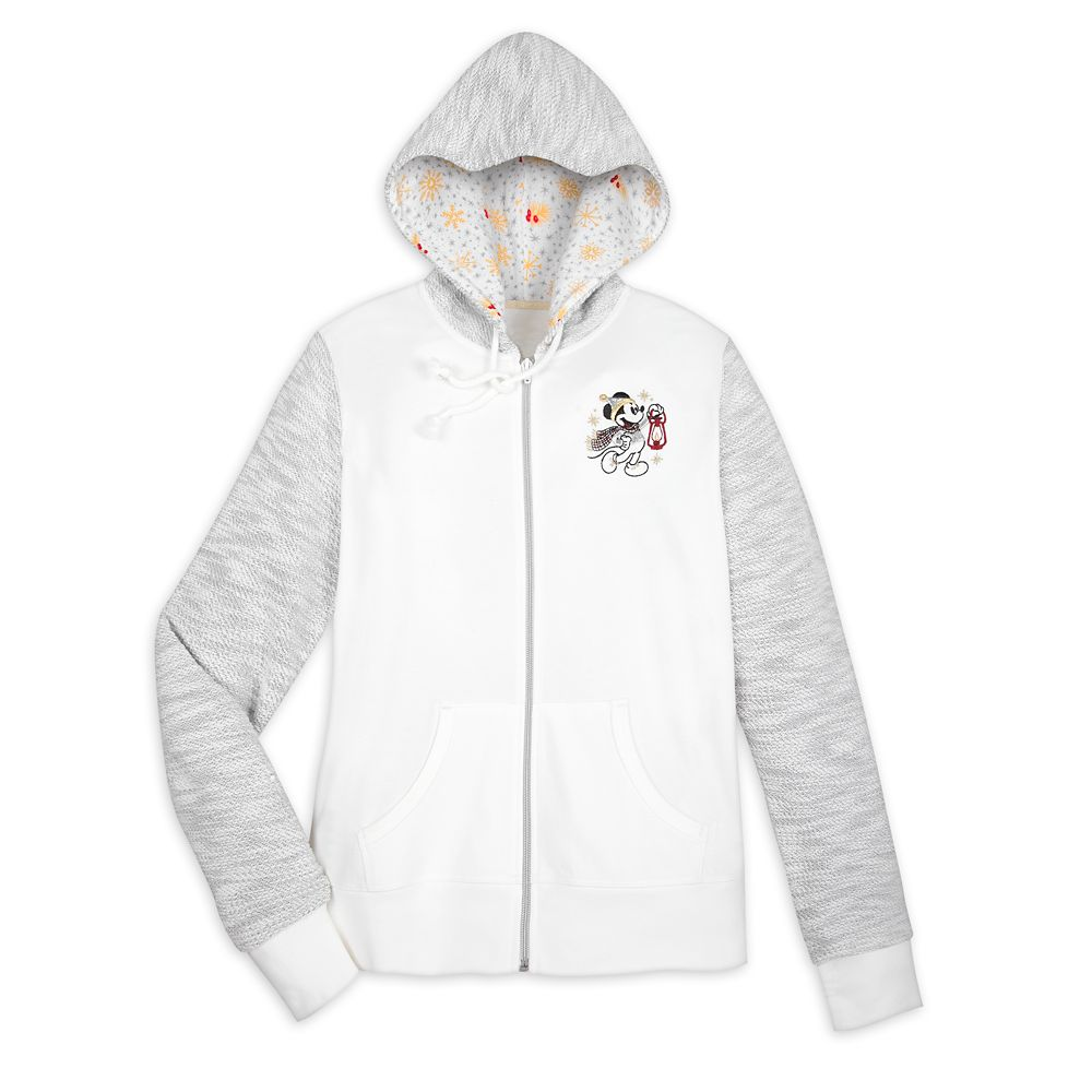 Mickey and Minnie Mouse Holiday Zip Hoodie for Women