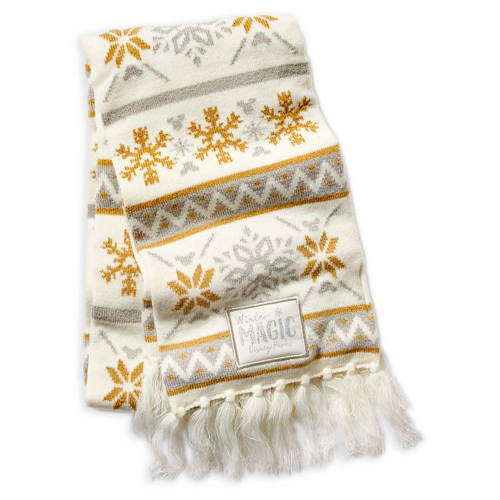 Disney Parks Silver and Gold Knit Scarf for Adults