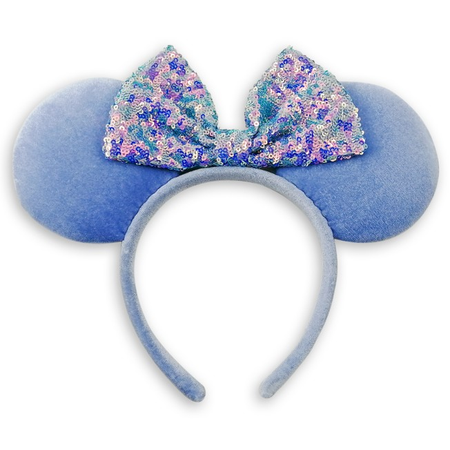 Minnie Mouse Ear Headband with Sequined Bow – Cornflower Blue