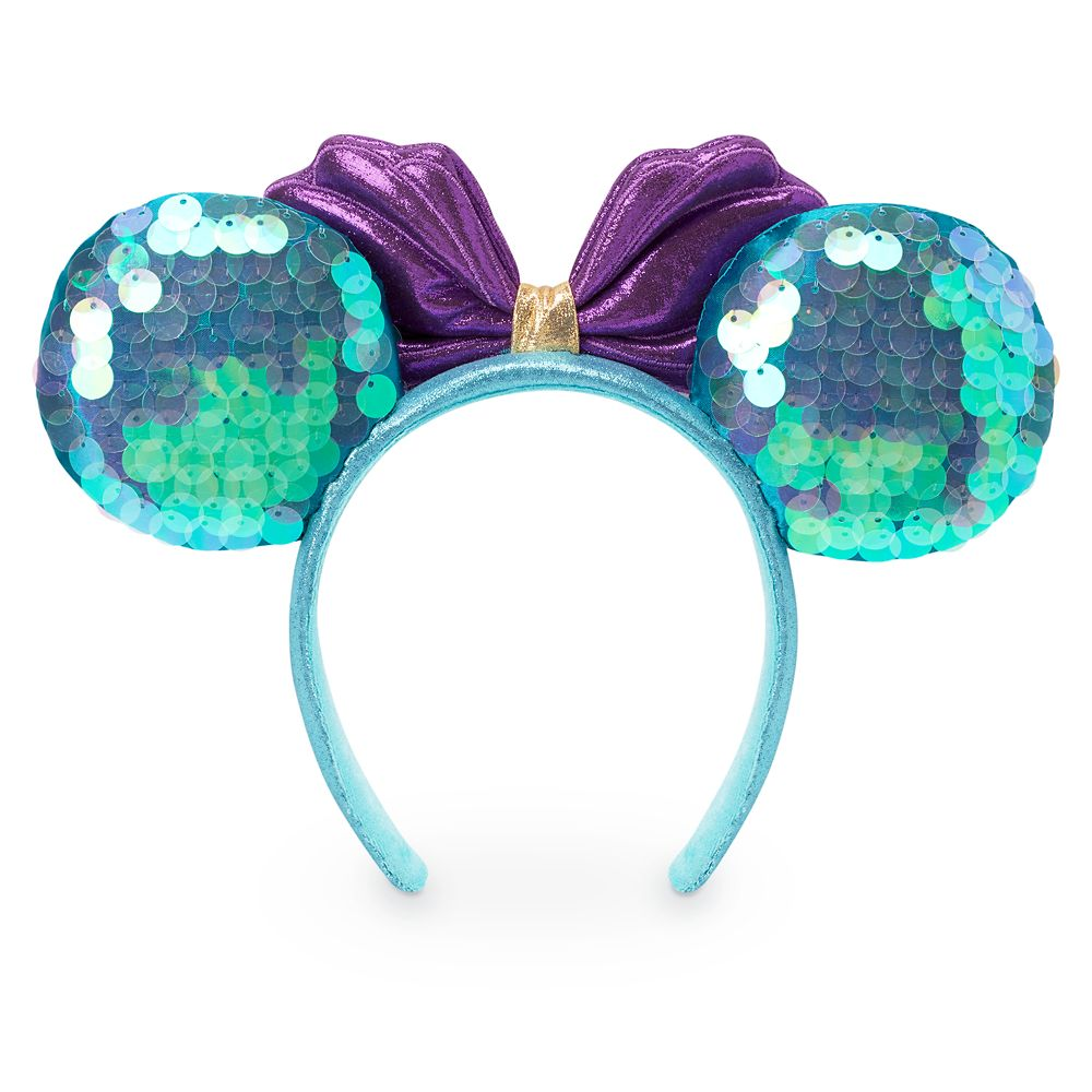 Ariel Sequin Minnie Mouse Ear Headband for Adults
