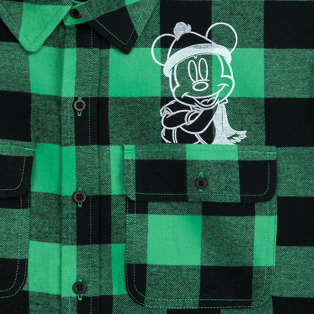 Mickey Mouse Plaid Flannel Shirt for Adults