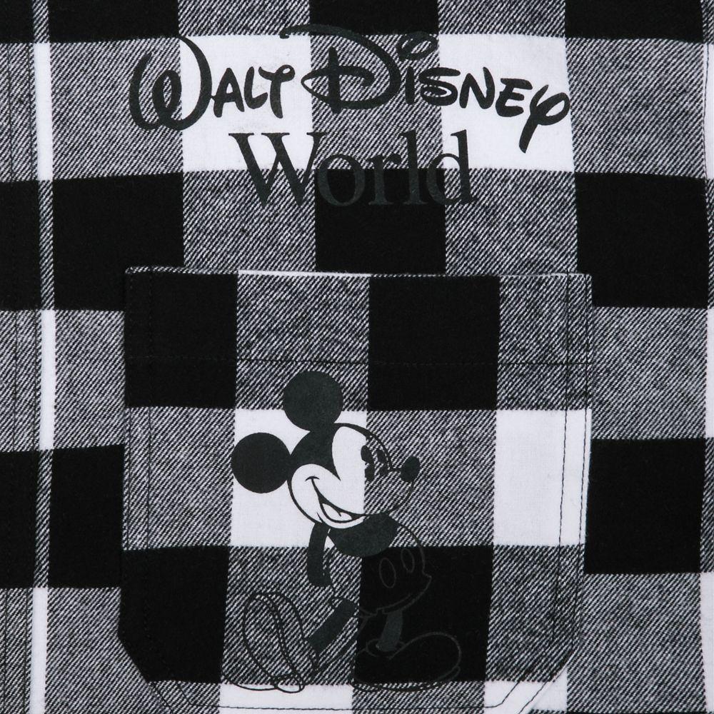 Mickey Mouse Classic Fashion Hoodie for Adults – Walt Disney World – Black & White Plaid