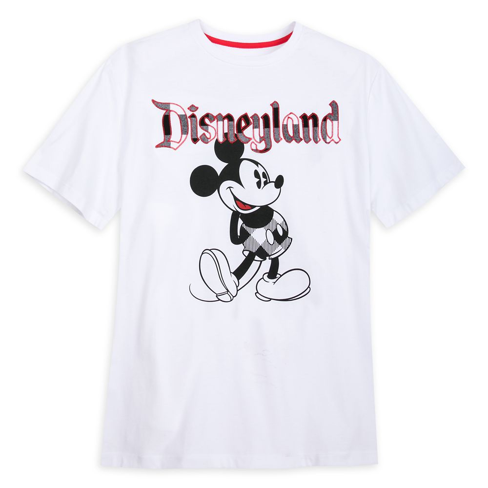 Mickey Mouse Classic T-Shirt for Adults – Disneyland – Black & White Plaid