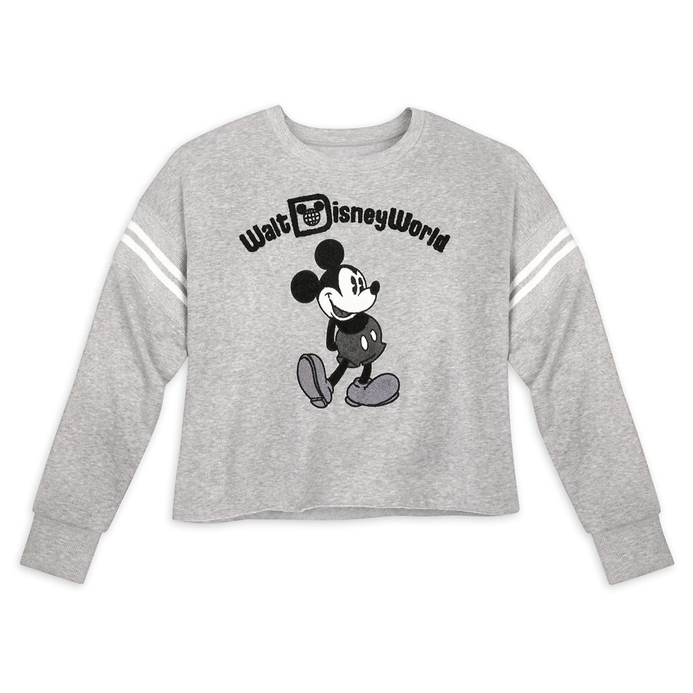 Mickey Mouse Cropped Pullover for Women – Walt Disney World – Gray