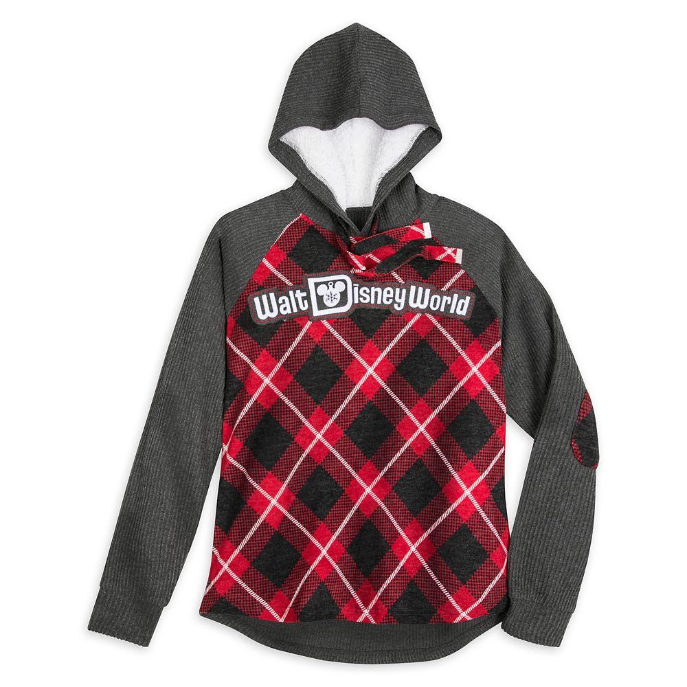 Walt Disney World Red Plaid Hooded Pullover for Women