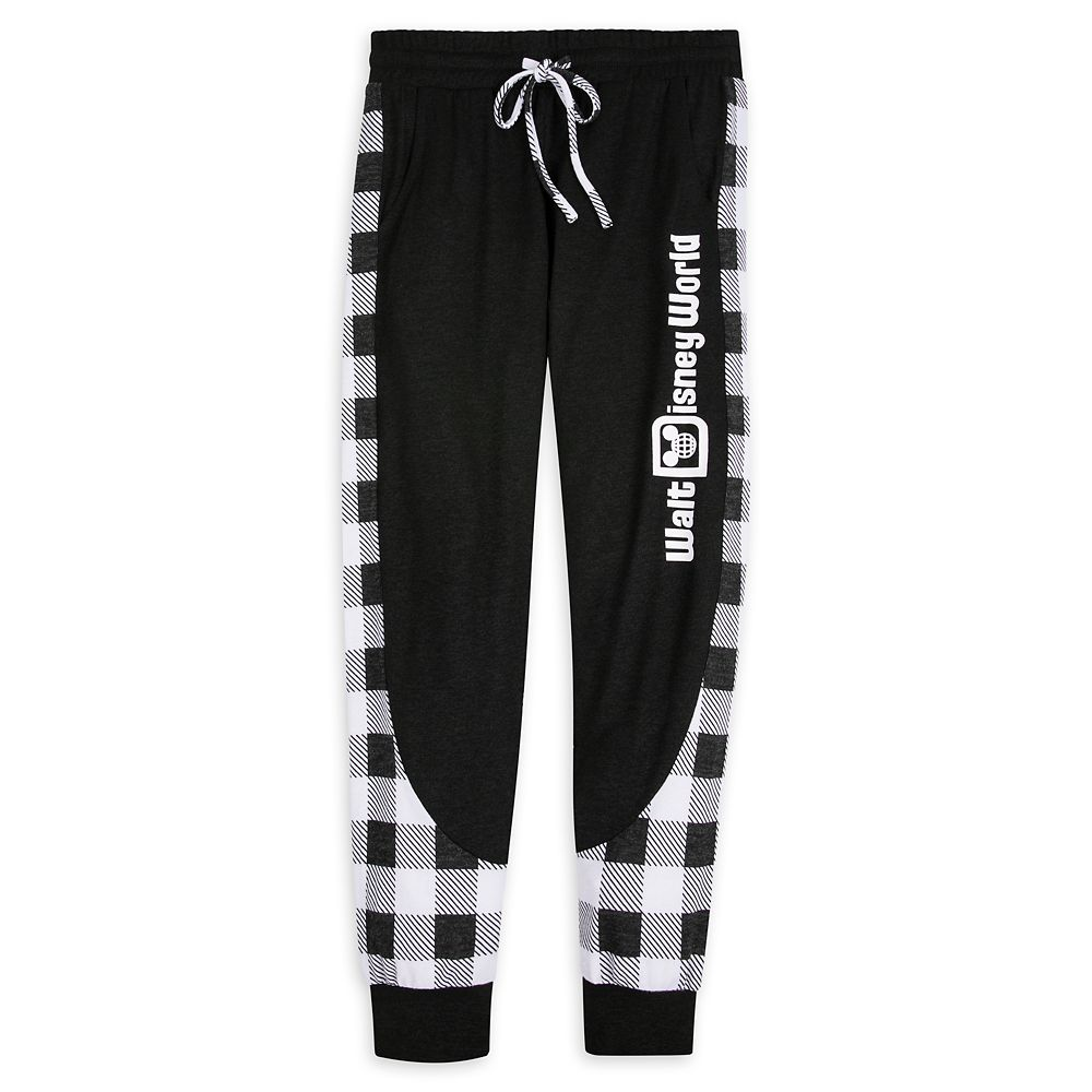 Walt Disney World Black and White Plaid Joggers for Women