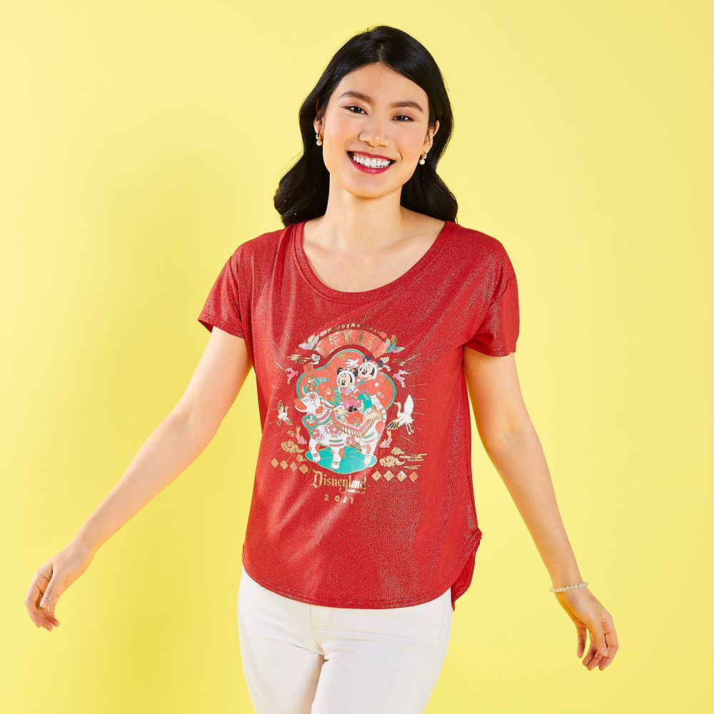 Mickey and Minnie Mouse Disneyland T-Shirt for Women – Lunar New Year 2021