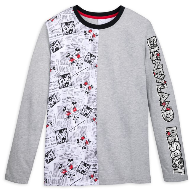 Mickey and Minnie Mouse Newsprint Long Sleeve T-Shirt for Adults – Disneyland
