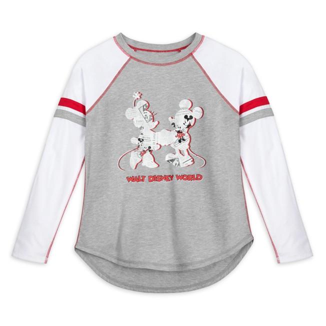 Mickey and Minnie Mouse Newsprint Raglan Long Sleeve T-Shirt for Women – Walt Disney World