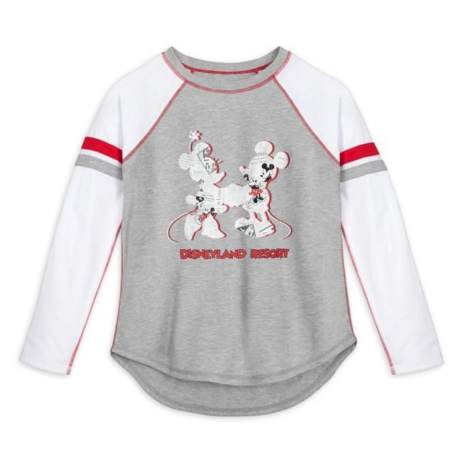 Mickey and Minnie Mouse Newsprint Raglan Long Sleeve T-Shirt for Women – Disneyland