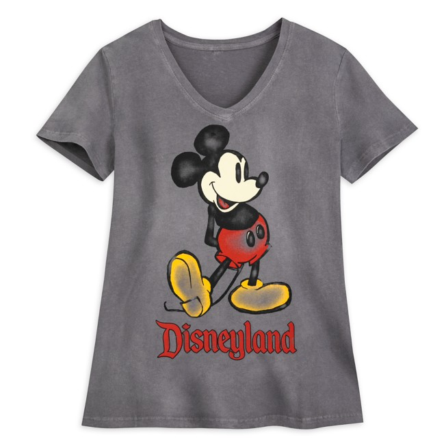 Mickey Mouse V-Neck T-Shirt for Women – Disneyland – Charcoal