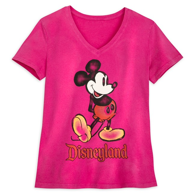 Mickey Mouse V-Neck T-Shirt for Women – Disneyland – Pink