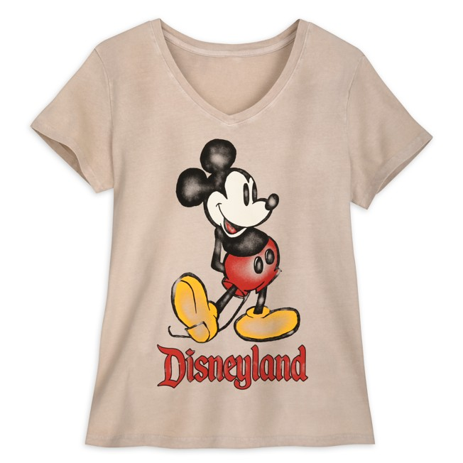 Mickey Mouse V-Neck T-Shirt for Women – Disneyland – Oatmeal