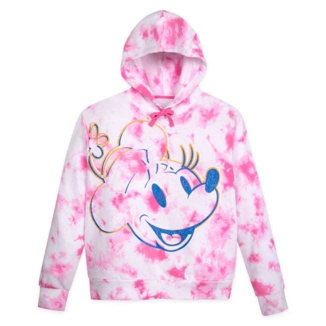 Minnie Mouse Tie Dye Pullover Hoodie for Adults – Disneyland –Pink