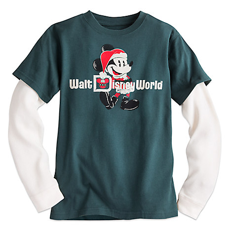 Santa Mickey Mouse Double-Up Long Sleeve Tee for Boys - Walt Disney World