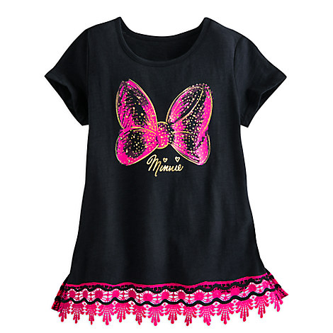 Minnie Mouse Bow Lace-Trimmed Tee for Girls