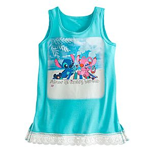Stitch and Angel Lace-Trimmed Tank Tee for Girls – Walt Disney World