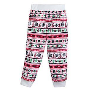 Santa Mickey Mouse Ear Hat Fair Isle Pajama Pants for Kids - Cream