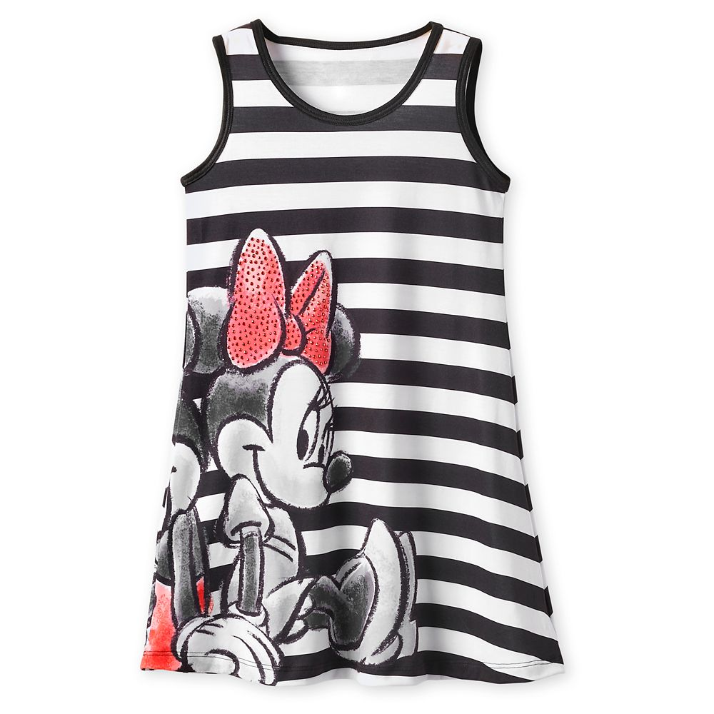 Mickey and Minnie Mouse Striped Dress for Girls – Black
