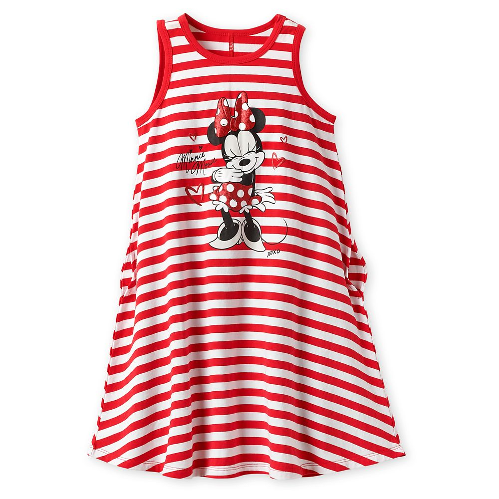 Minnie Mouse Striped Dress for Girls – Red