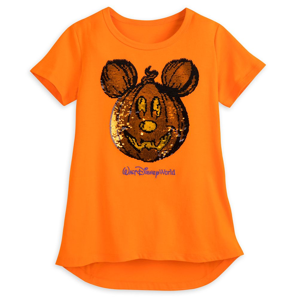 Mickey Mouse Reversible Sequin Pumpkin T-Shirt for Girls – Walt Disney World