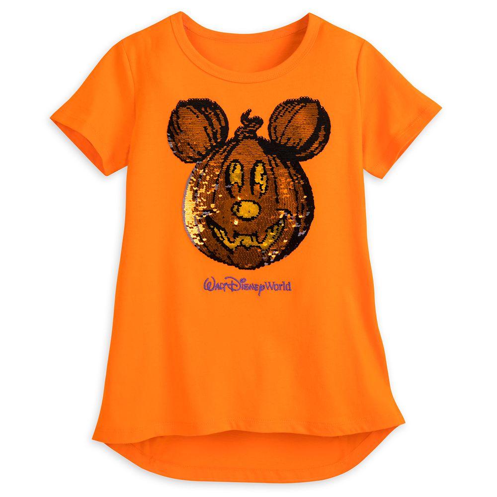 Mickey Mouse Reversible Sequin Pumpkin T-Shirt for Girls  Walt Disney World