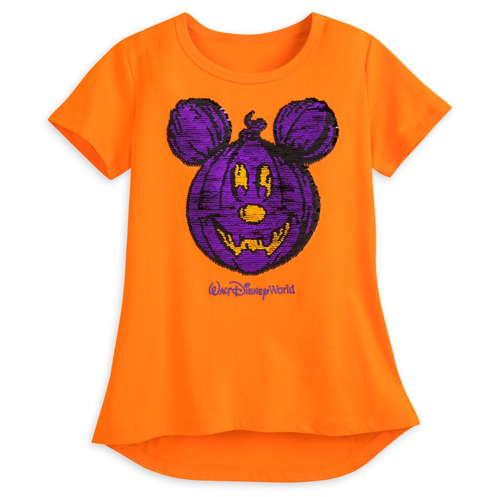 Mickey Mouse Reversible Sequin Pumpkin T-Shirt for Girls – Walt Disney World