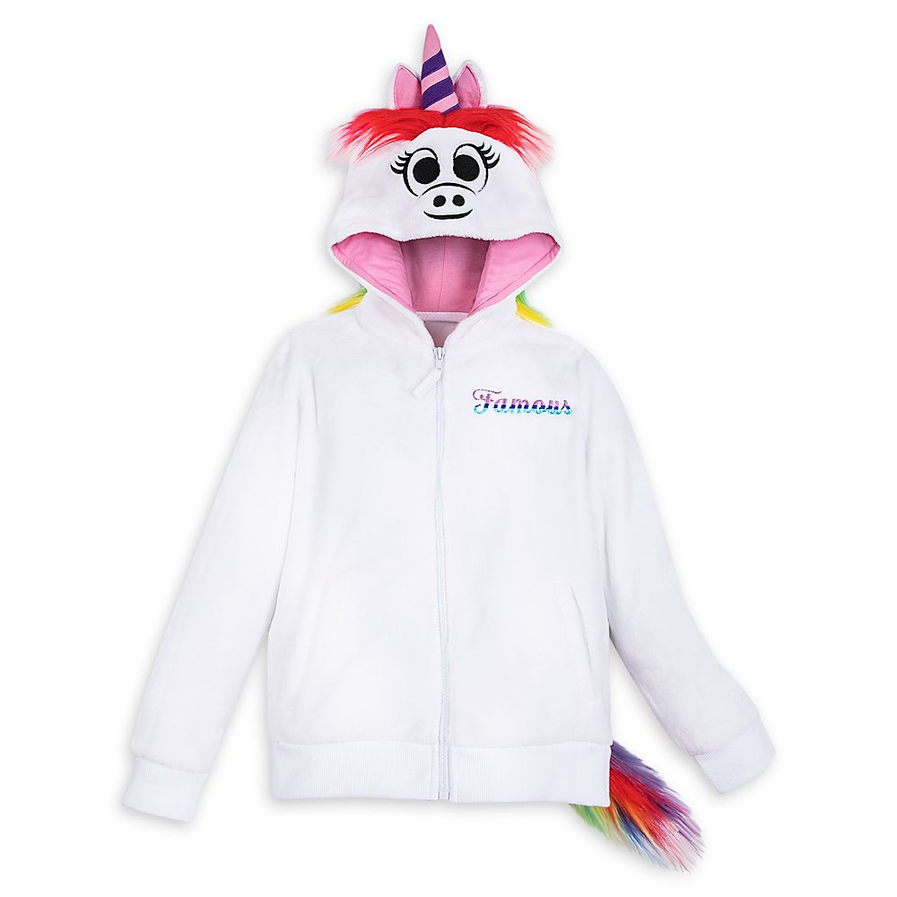 Rainbow Unicorn Plush Zip Hoodie for Girls