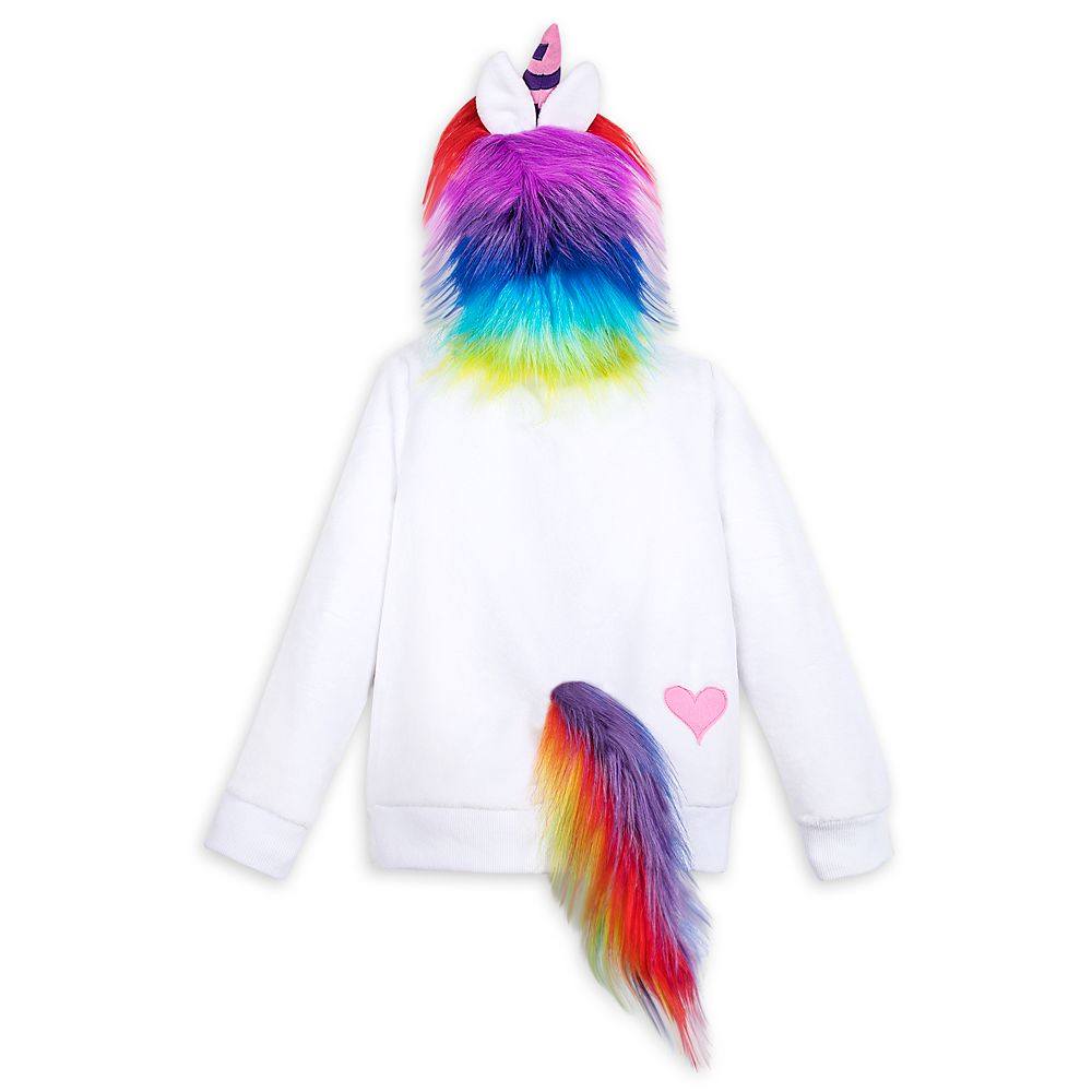 Rainbow Unicorn Plush Zip Hoodie for Girls