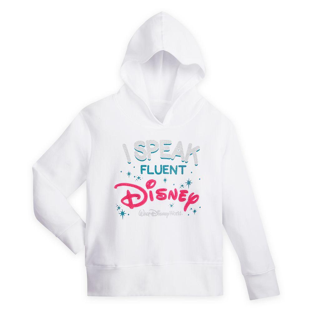 ''I Speak Fluent Disney'' Cropped Pullover Hoodie for Girls – Walt Disney World