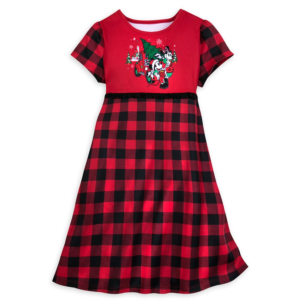 Mickey and Minnie Mouse Plaid Nightshirt for Girls