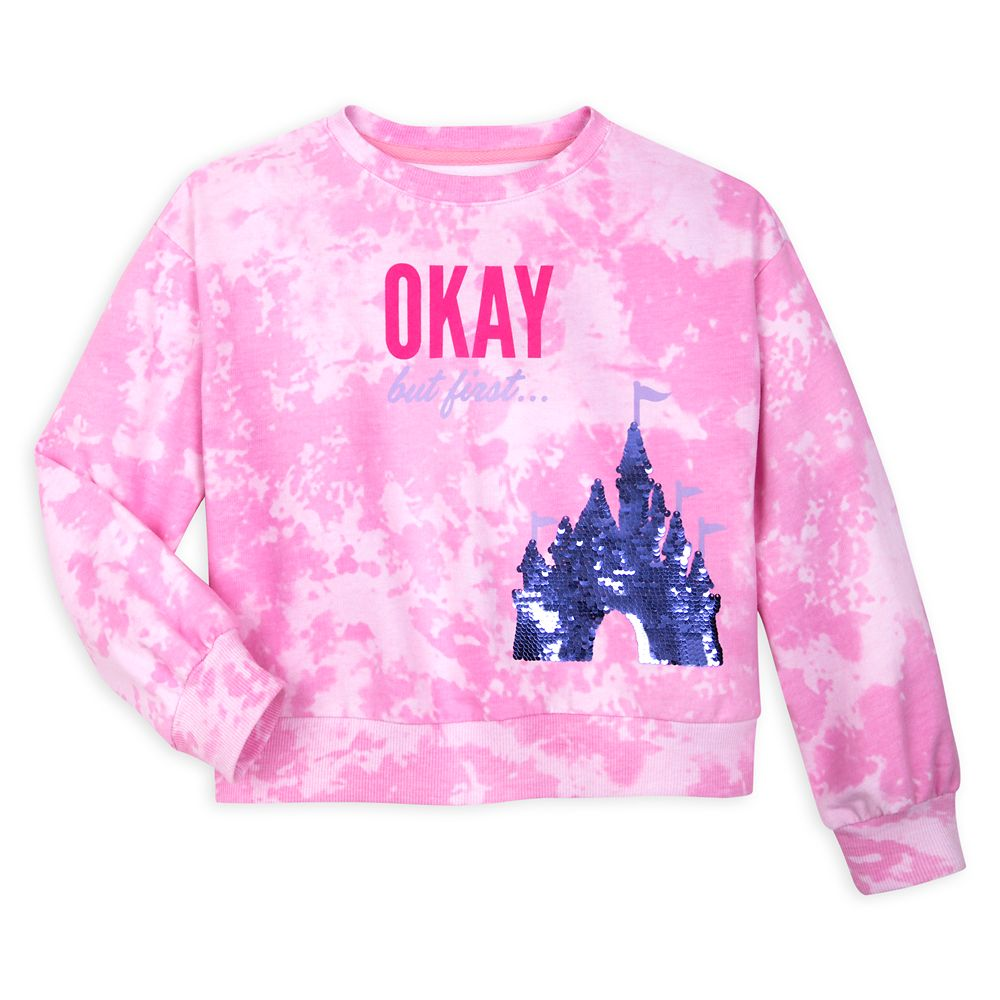 Fantasyland Castle Tie-Dye Reversible Sequin Sweatshirt for Girls